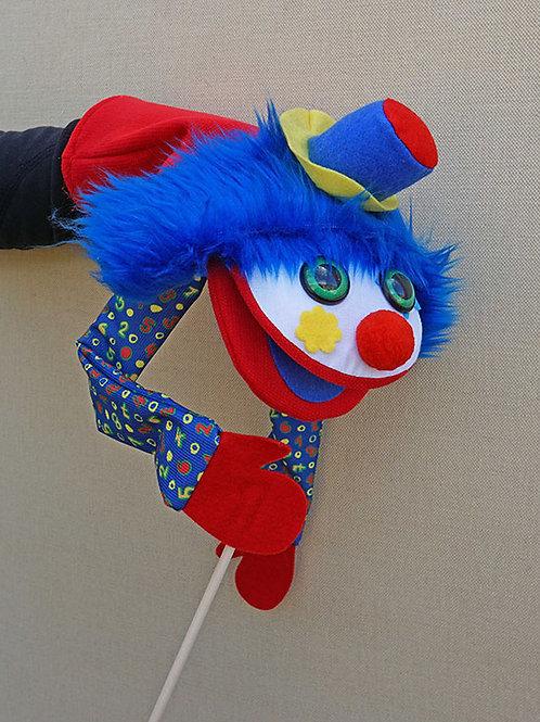 Títere  de payaso con pelo azul, mueve la boca y el brazo