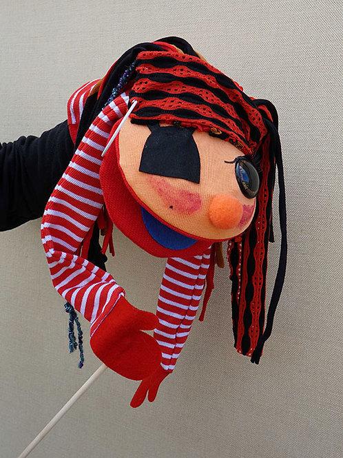 Títere de varilla pirata chica, mueve la boca y el brazo
