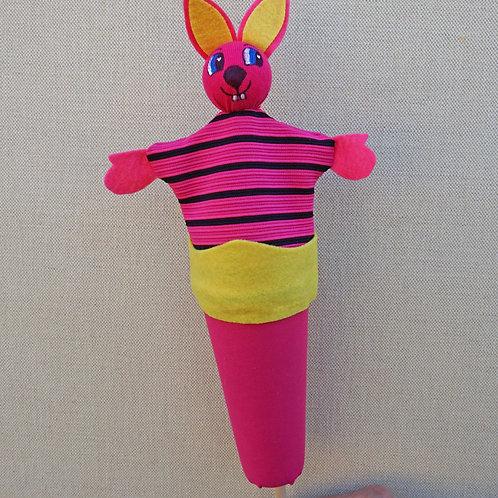 Títere de cono conejo rayas de frente