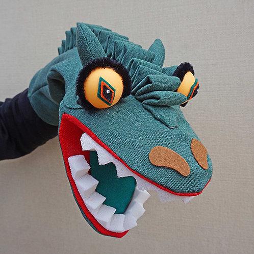 Títere de dinosaurio verde