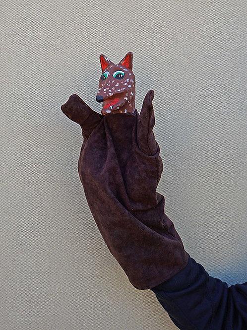 Títere de guiñol de cartón piedra, lobo