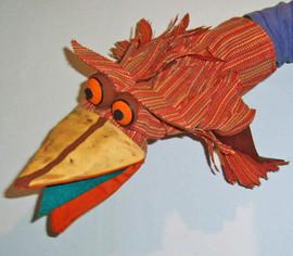 Títere guante, pájaro
