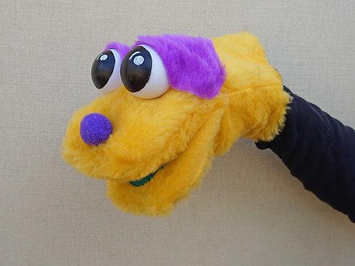 Títere bocón amarillo con morado