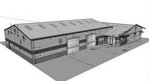 3d rendering of steel building