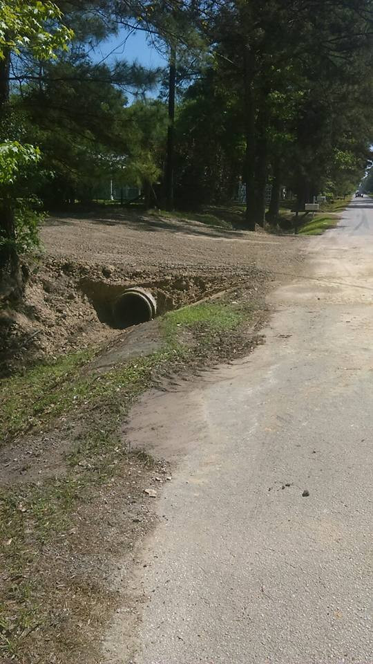 culvert with crushed concrete side view