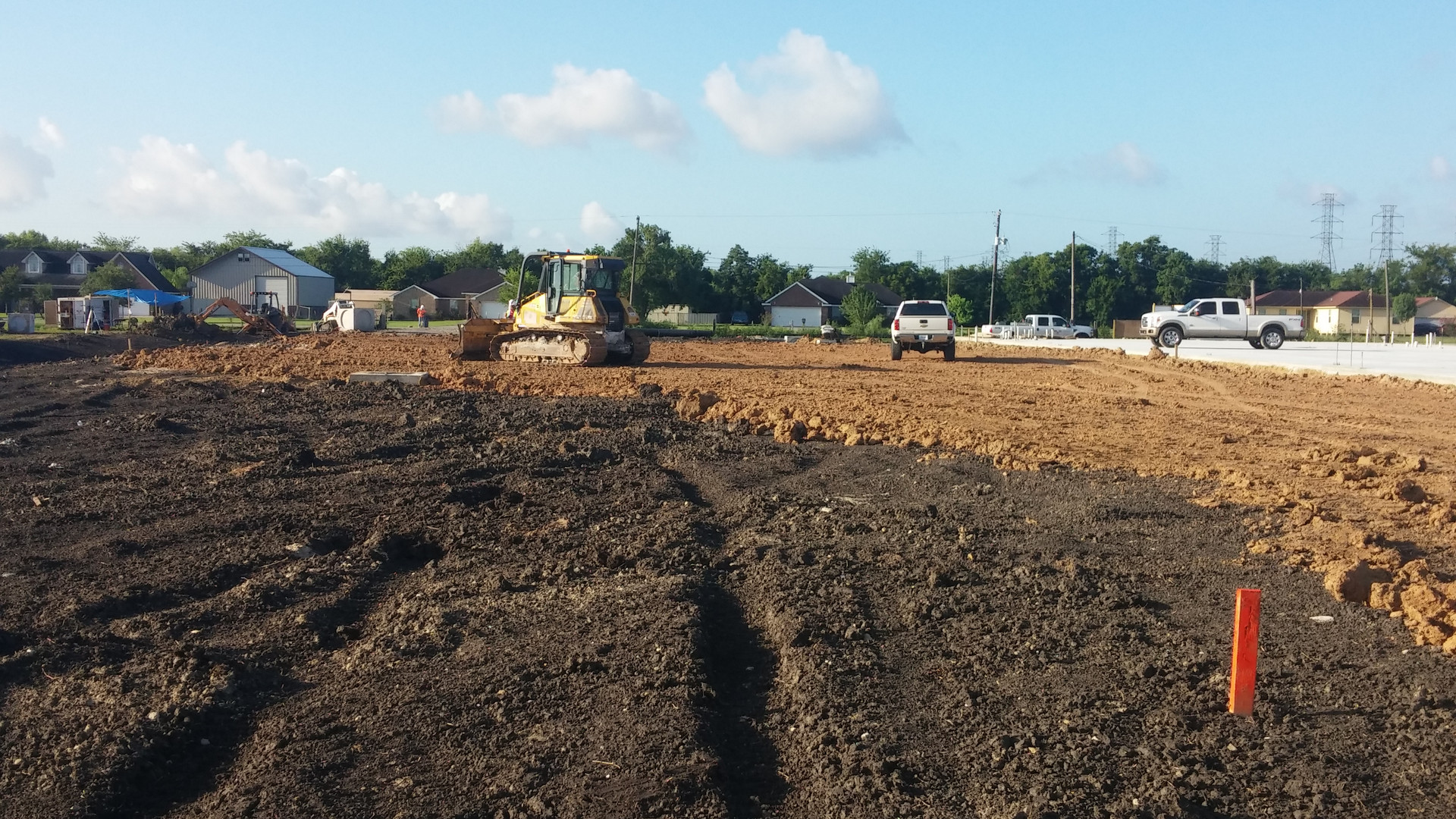 overall job site with concrete