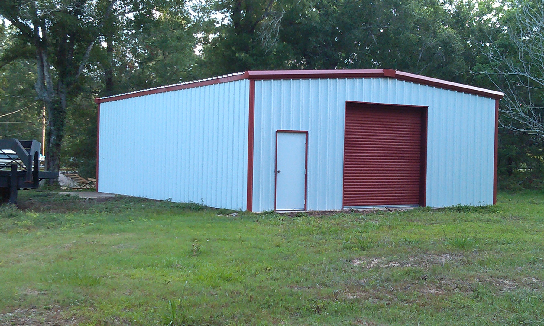 white steel building completed