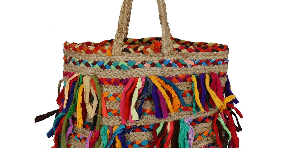 Multicoloured Handcrafted Jute Tote Bag With Tassel