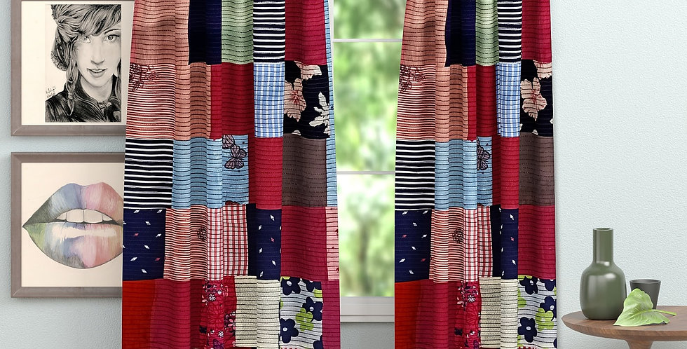 Luxury Fab Patch Collection/Multicolor 6 ft  Window Curtains