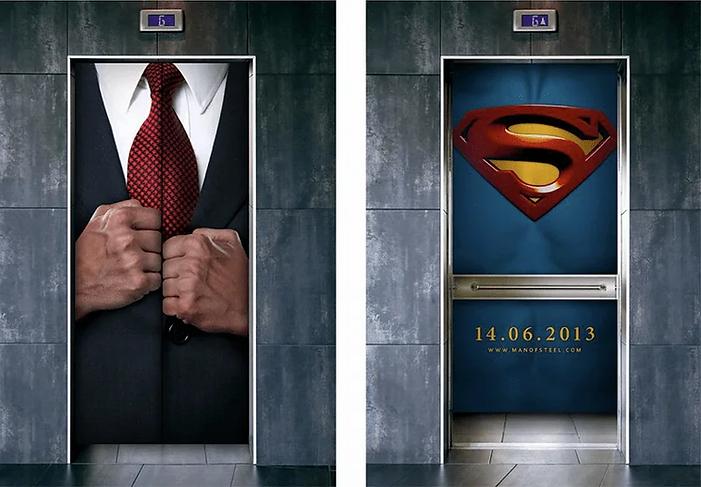 Лифт оклееный рекламой