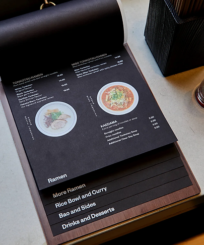 Стильное меню ресторана