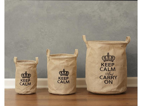 Keep Calm & Carry On Collapsible Burlap Bins