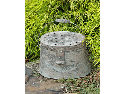 Fishing Metal Pail Antique Wash with Wooden Handle