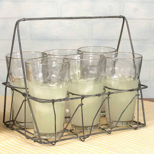 Wire Caddy with Six 7oz Glasses