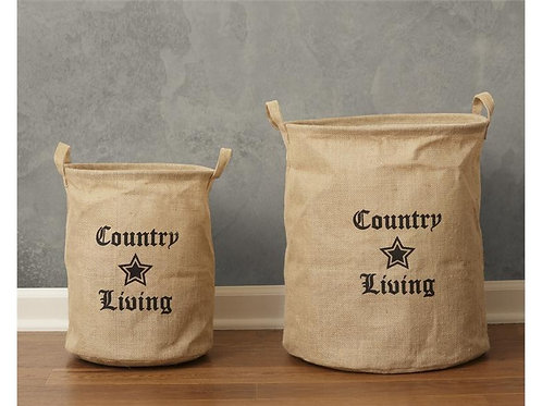 Country Living Collapsible Burlap Bins