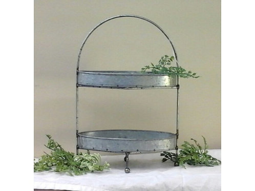 Double Tier Metal Serving Tray