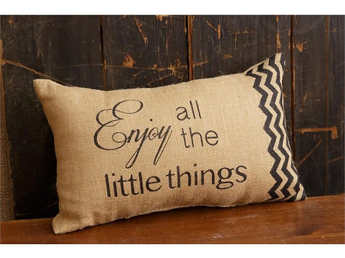 Burlap 'Enjoy' Decorative Pillow