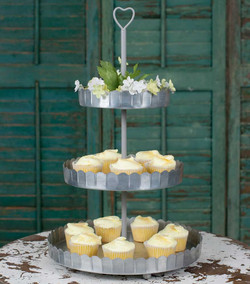 Metal Heart Three-Tier Serving Tray