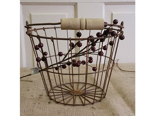Apple Rustic Metal Basket w/ Wooden Handle