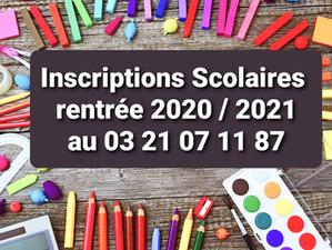 Inscriptions pour la rentrée Scolaire 2020/2021