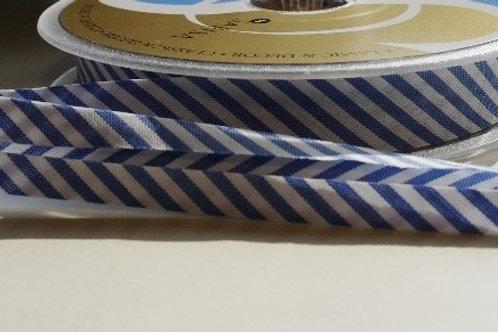 18mm cotton bias binding stripes (Nautical blue / white)