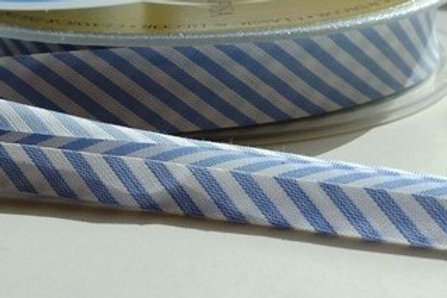 18mm cotton bias binding stripes (Sky blue / white)