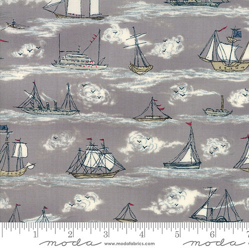 Ahoy Me Hearties: Busy seas (Pebble grey) - Janet Clare