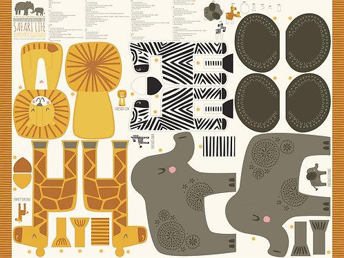 Safari Life Panel - Stuffed animals - Stacy Iest Hsu (Moda Fabrics)