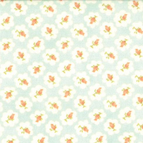 Avalon: Floral Cotton Puffs - Aqua
