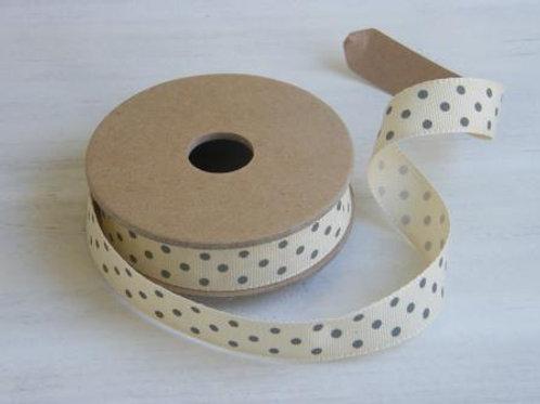 Grey spots 25mm ribbon - 3 metre reel