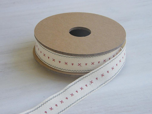 Hearts and kisses ribbon 25mm - 3 metre reel  - East of India