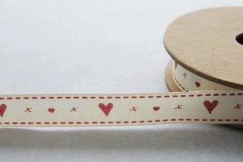 Natural Charms: Hearts and kisses ribbon - 15mm width