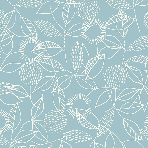 Double Gauze - Backstitch Blue: Threads by Eloise Renouf / Cloud 9 Fabrics