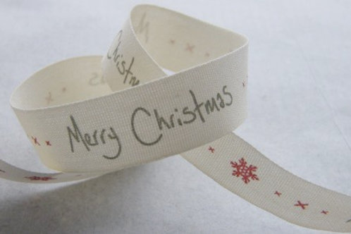 Snowflakes and Merry Christmas ribbon 15mm - East of India