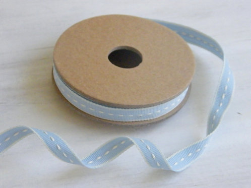 Stitched ribbon 10mm (Baby blue) - 3 metre reel  - East of India