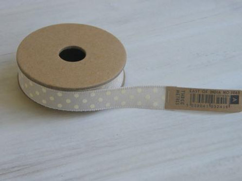 Cream spots 25mm ribbon - 3 metre reel