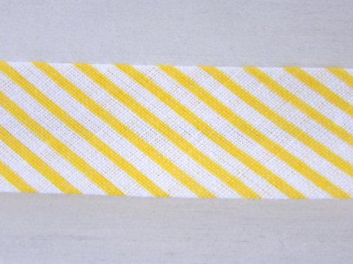 18mm cotton bias binding stripes (yellow and white)