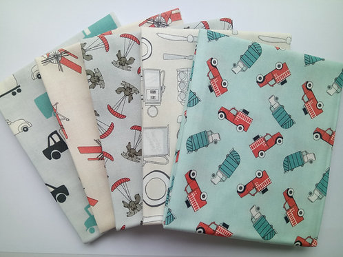 Mighty machines 5 Fat Quarters bundle (Teal/Grey)