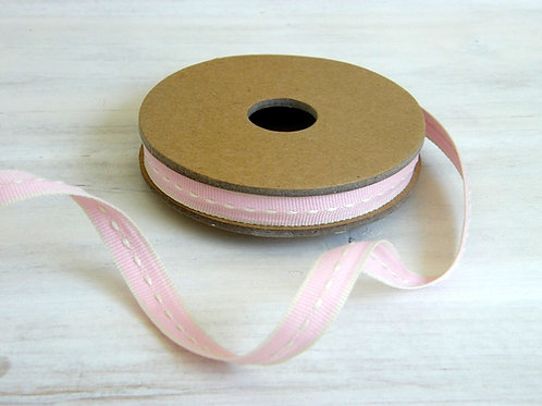 Stitched ribbon 10mm (Pink) - 3 metre reel  - East of India