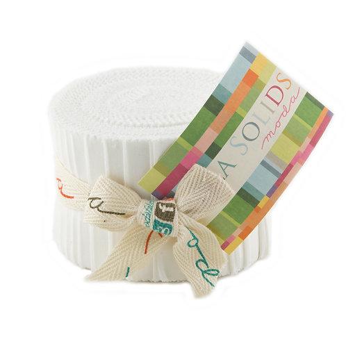 Junior Jelly roll: white - Moda Bella Solids