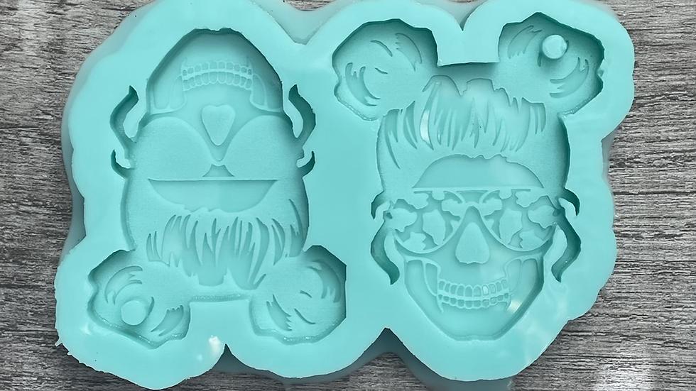 Dual Mom Skull Keychain Mold