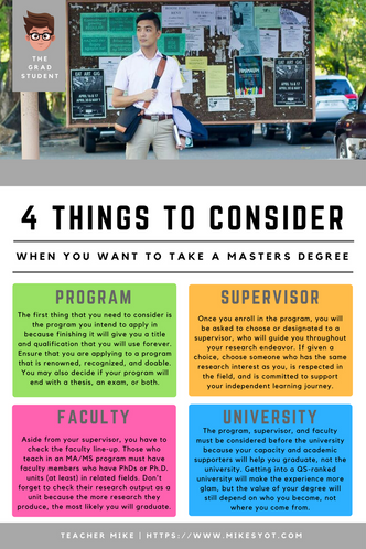 Four Considerations Before I Enroll in Graduate School
