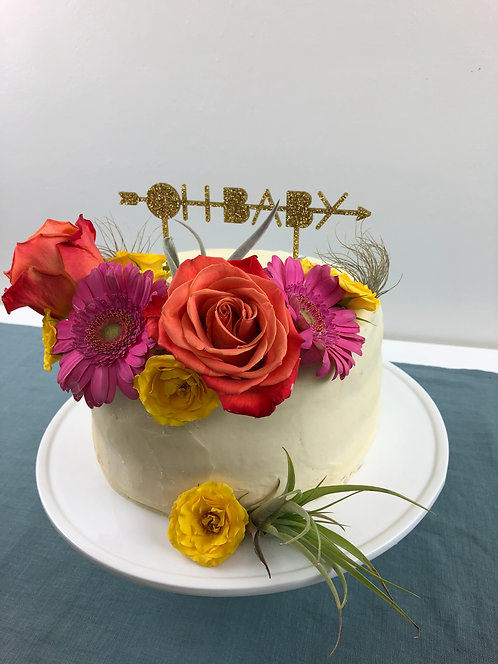 OH BABY ACRYLIC CAKE TOPPER - GOLD