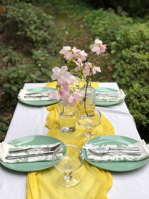 ANNIE GAUZE TABLE RUNNER- GOLDEN YELLOW