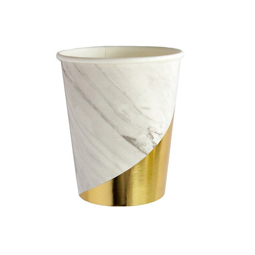 White Marble + Gold Colorblock Cups - Harlow & Grey