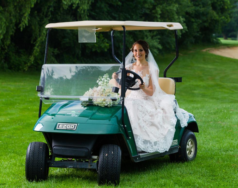 Bride in golf cart
