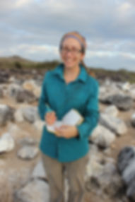 Jenny Howard doing fieldwork, Española Island, Galápagos