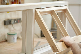 Wooden window frame joinery