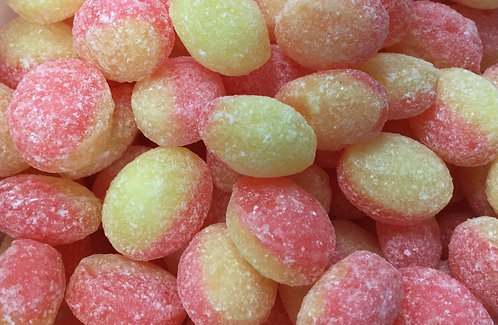 Rhubarb and Custard flavour hard boiled sweets