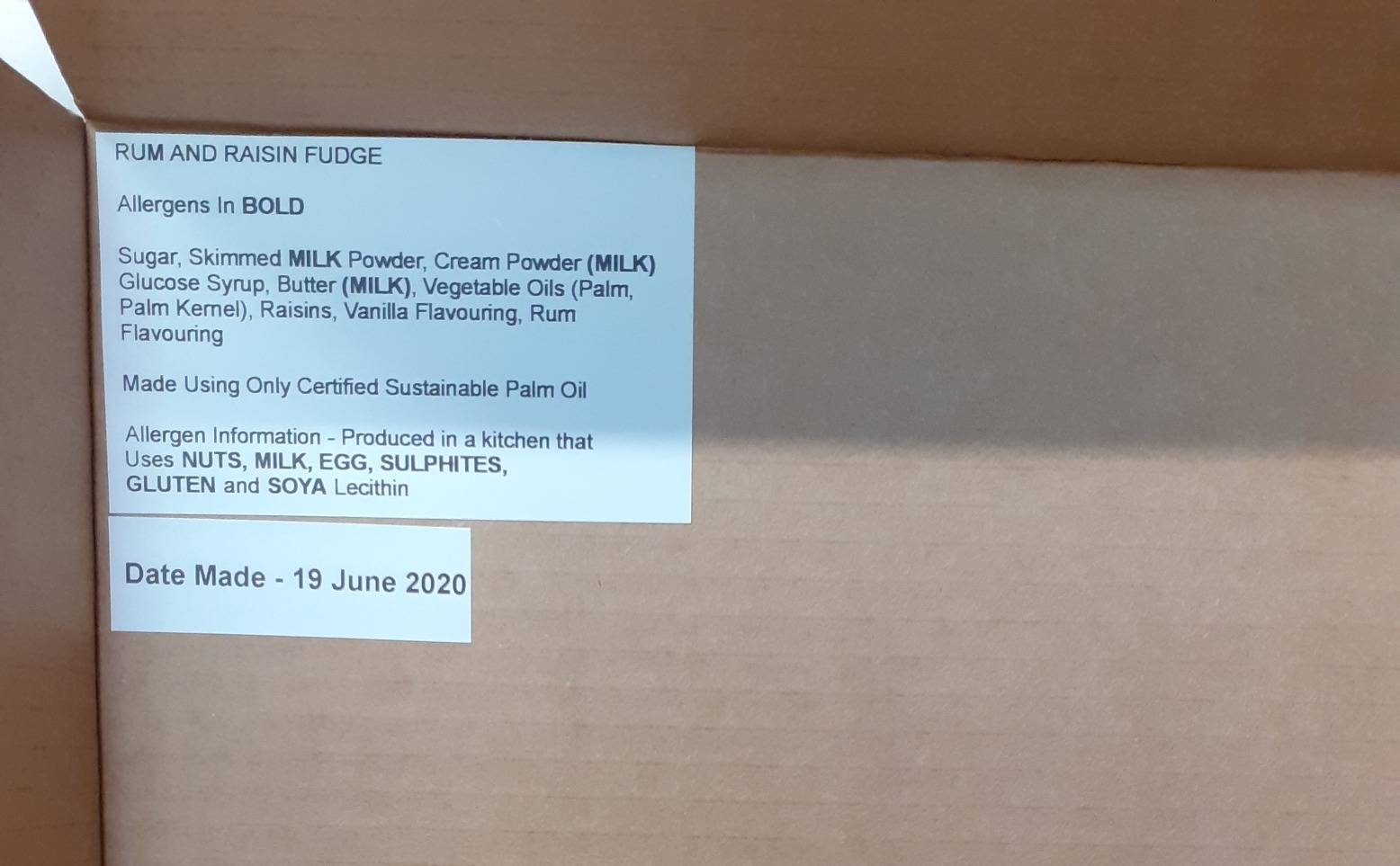 Fudge Box Labelling